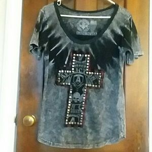 Affliction tee with studs